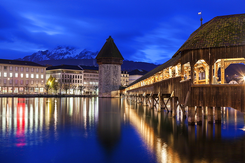Chapel Bridge at night, Switzerland, Lucerne, Chapel Bridge,Kapellbrucke