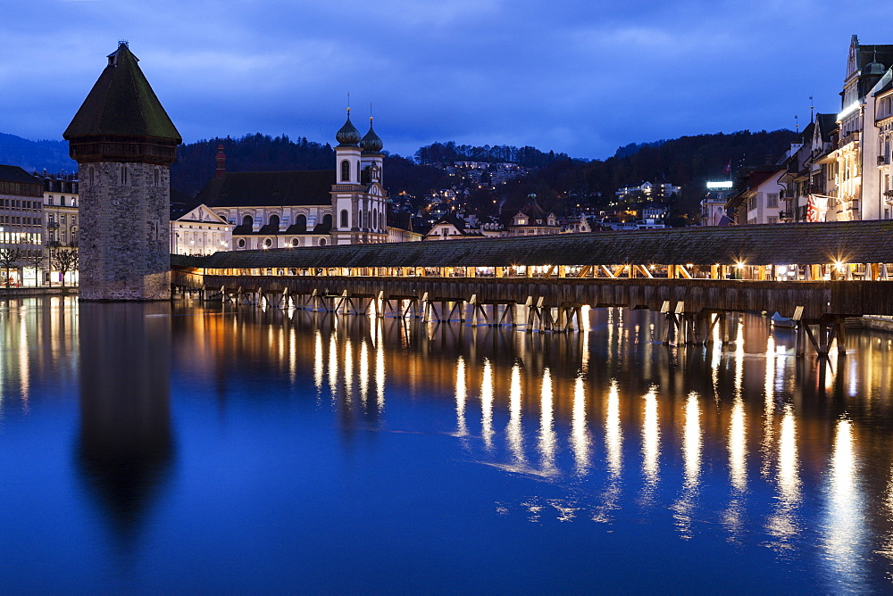 Chapel Bridge and Jesuit Church, Switzerland, Lucerne, Chapel Bridge,Kapellbrucke,Jesuit Church