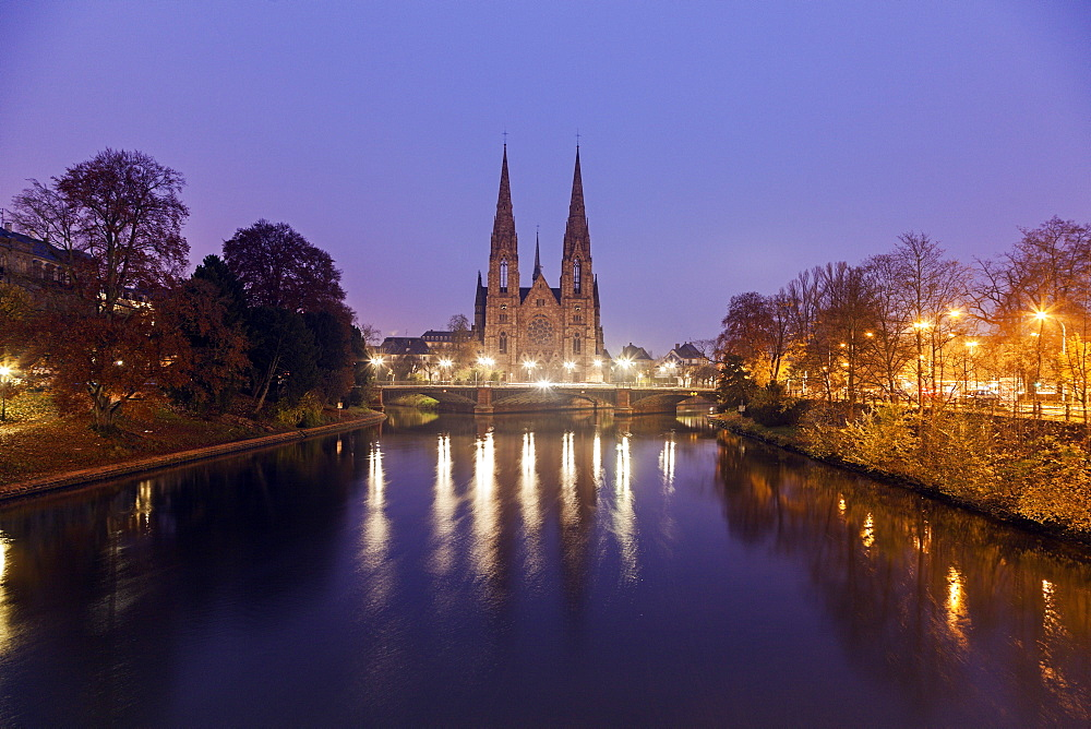 St Paul's church at night, France, Alsace, Strasbourg, St Paul's church