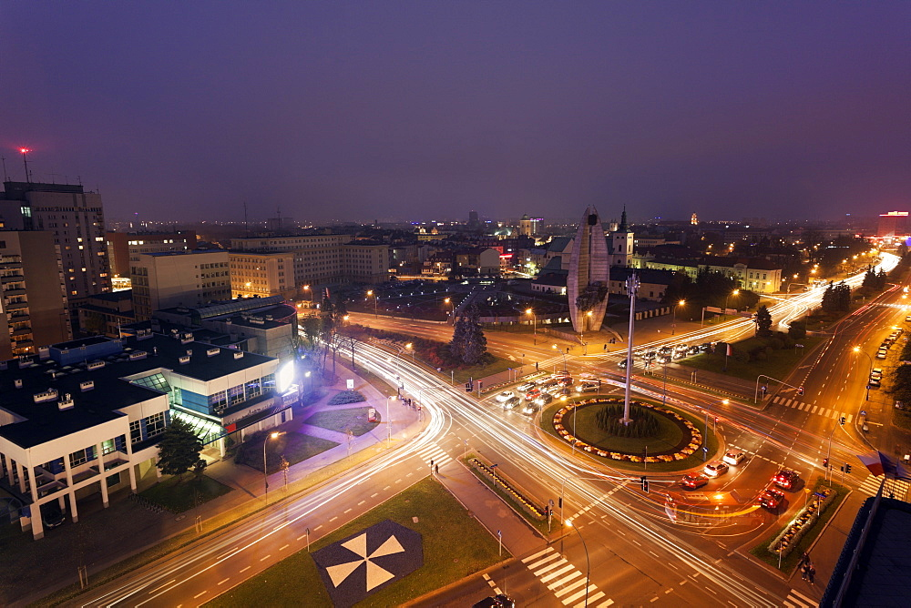 Road intersection at night, Poland, Rzeszow,