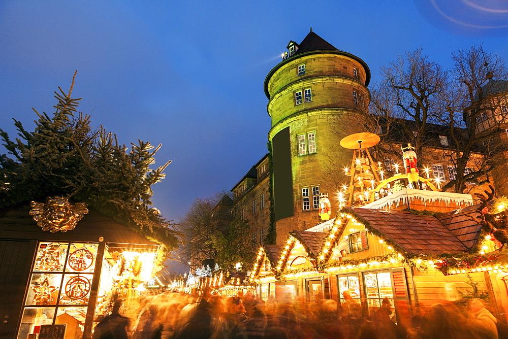 Old castle during christmas, Germany, Baden-Wurttemberg, Stuttgart