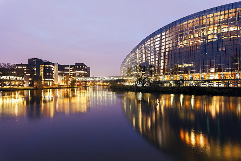 European Parliament at sunrise, France, Alsace, Strasbourg, European Parliament