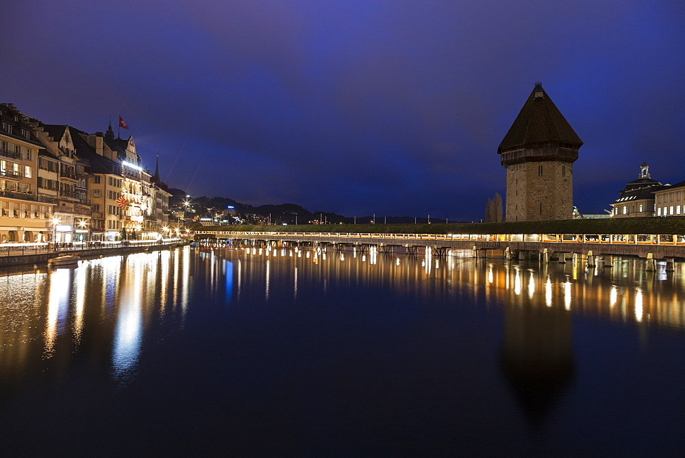Chapel Bridge at night, Switzerland, Lucerne, Chapel Bridge,Kapellbrucke,