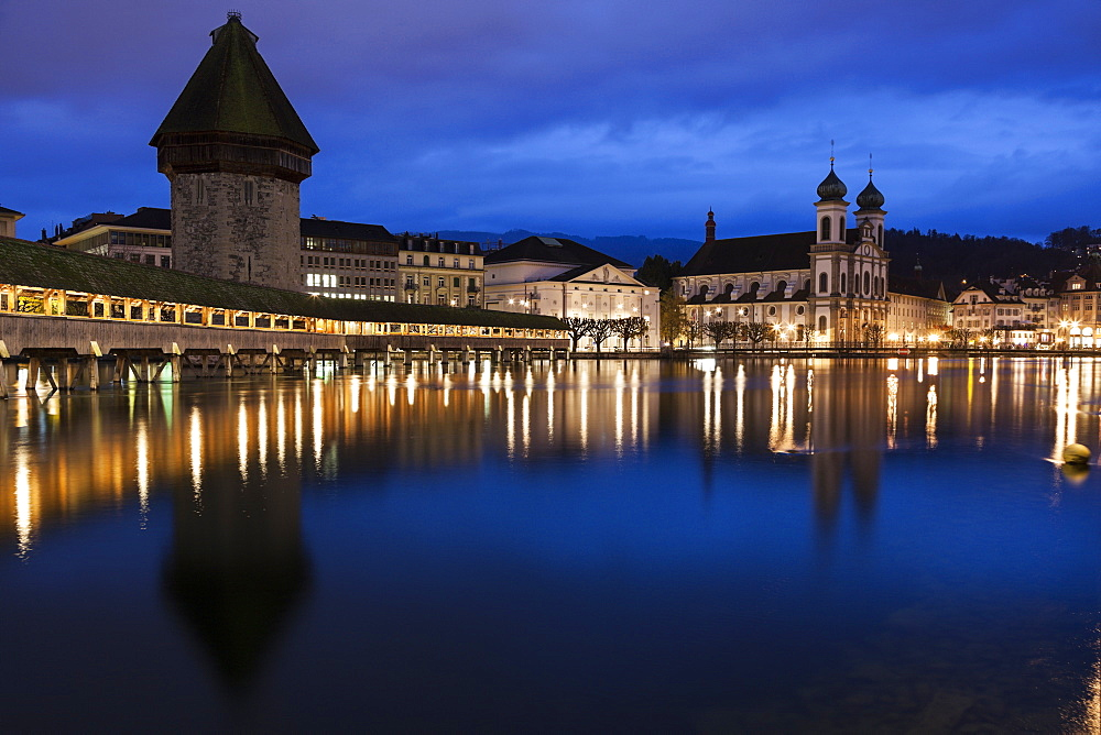 Chapel Bridge and Jesuit Church at Night, Switzerland, Lucerne, Chapel Bridge,Kapellbrucke, Jesuit Church