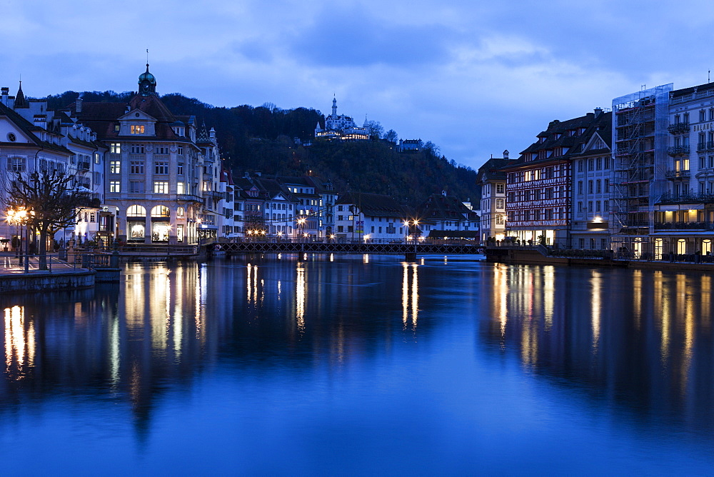 Architecture along Reuss River, Switzerland, Lucerne, Lucerne architecture along Reuss River