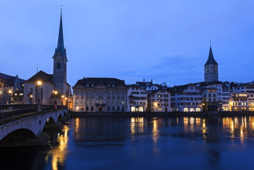 Fraumunster Church and St. Peter Church, Switzerland, Zurich, Fraumunster Church,St. Peter Church
