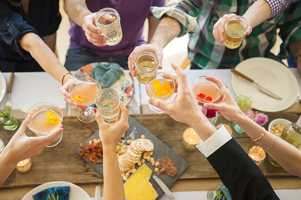 People toasting at party