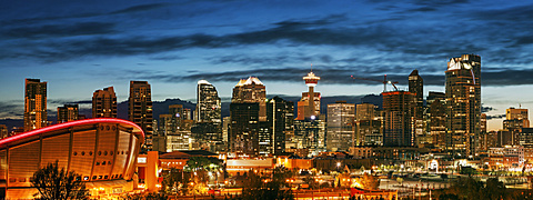 Downtown district at night, Canada, Alberta, Calgary