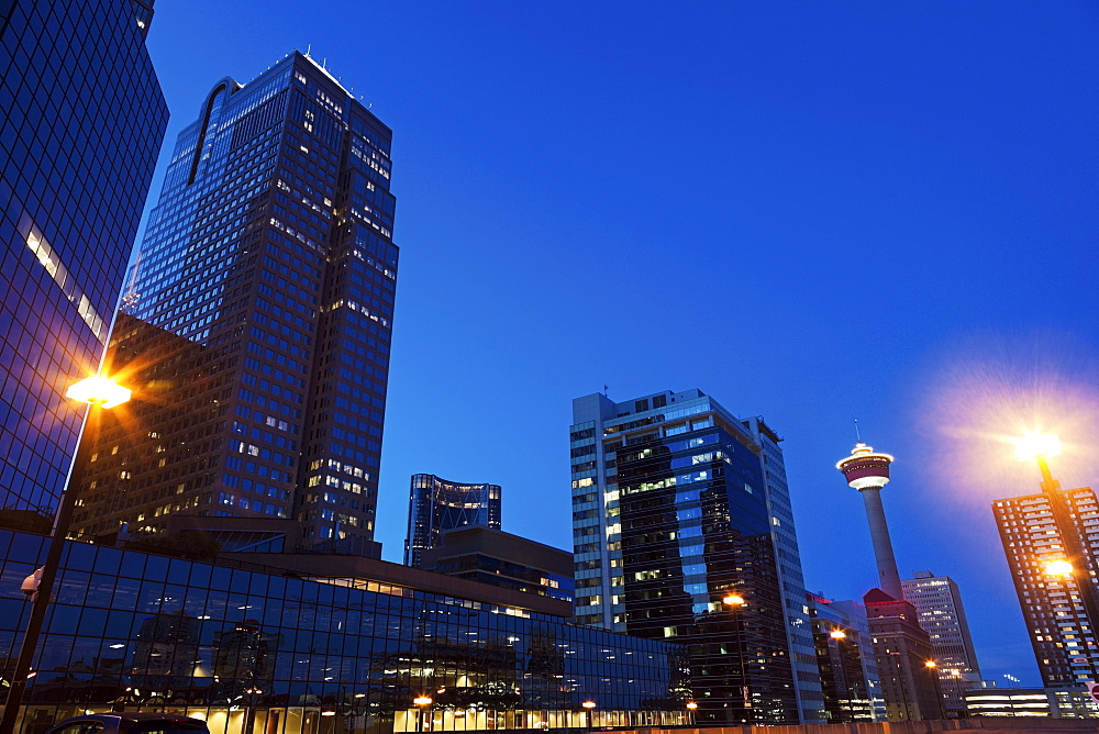 Skyscrapers at night, Canada, Alberta, Calgary
