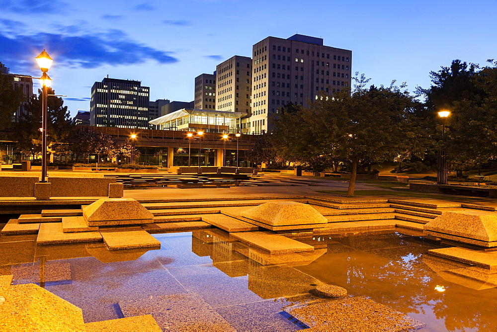 Town square at night, Canada, Alberta, Edmonton