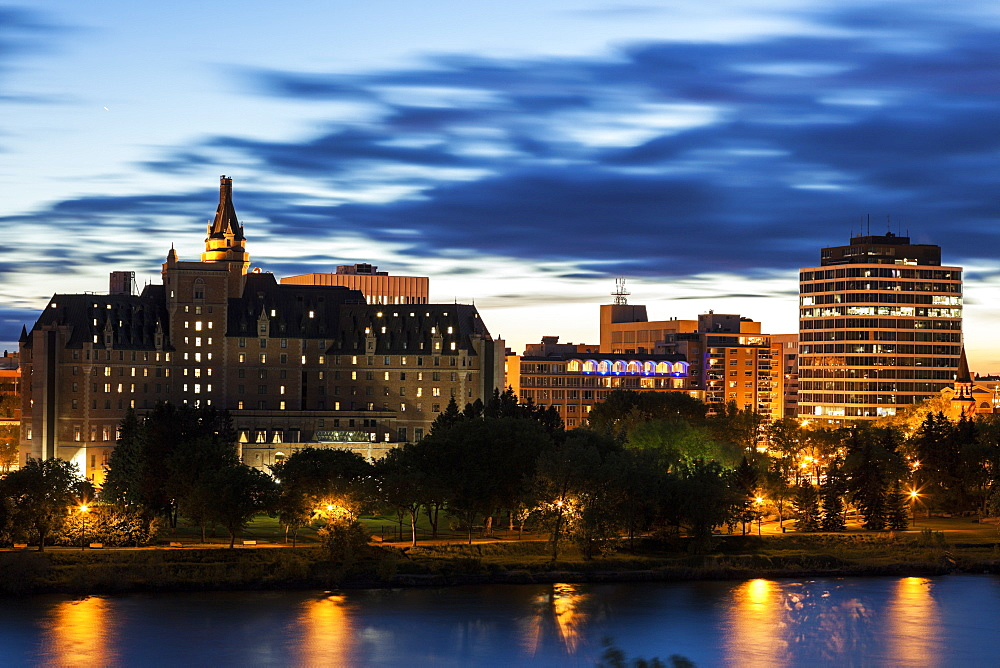 City at night, Canada, Saskatchewan, Saskatoon