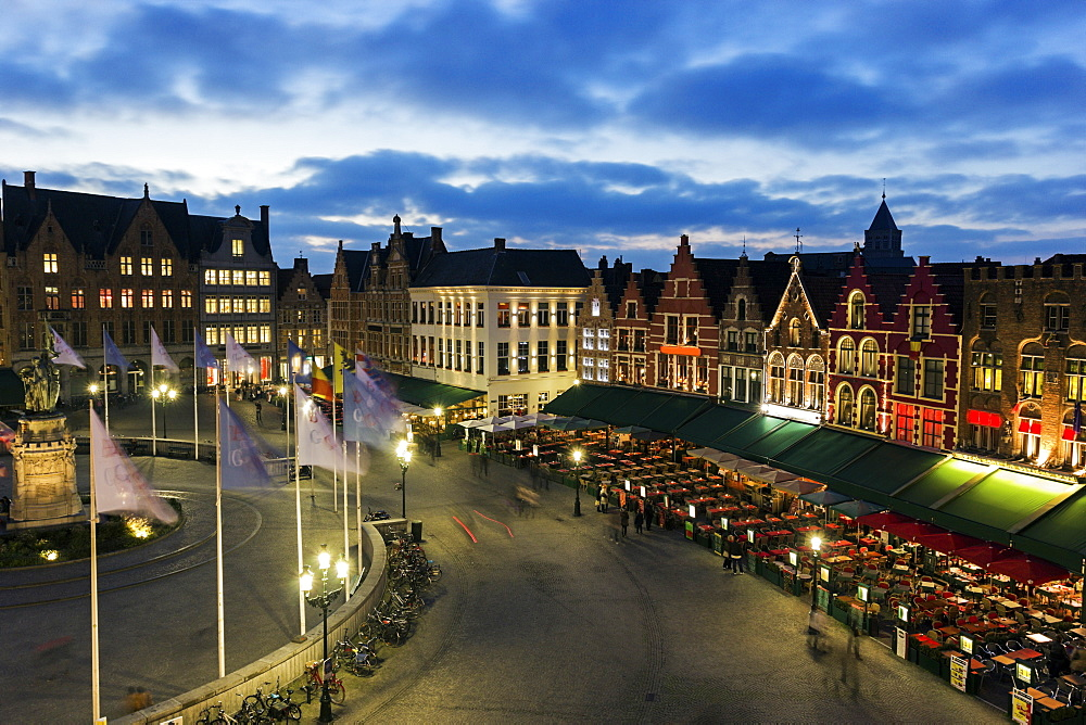 View of old town square, Belgium, Flemish Region, Bruges