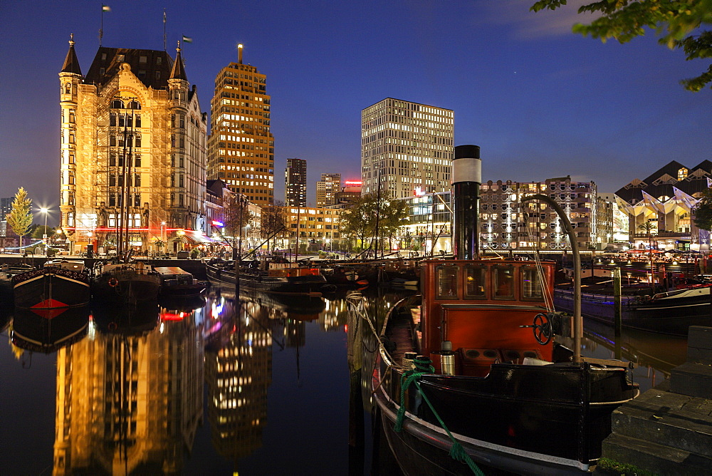 Old Harbor skyline illuminated at dawn, Netherlands, South Holland, Rotterdam, Old Harbor