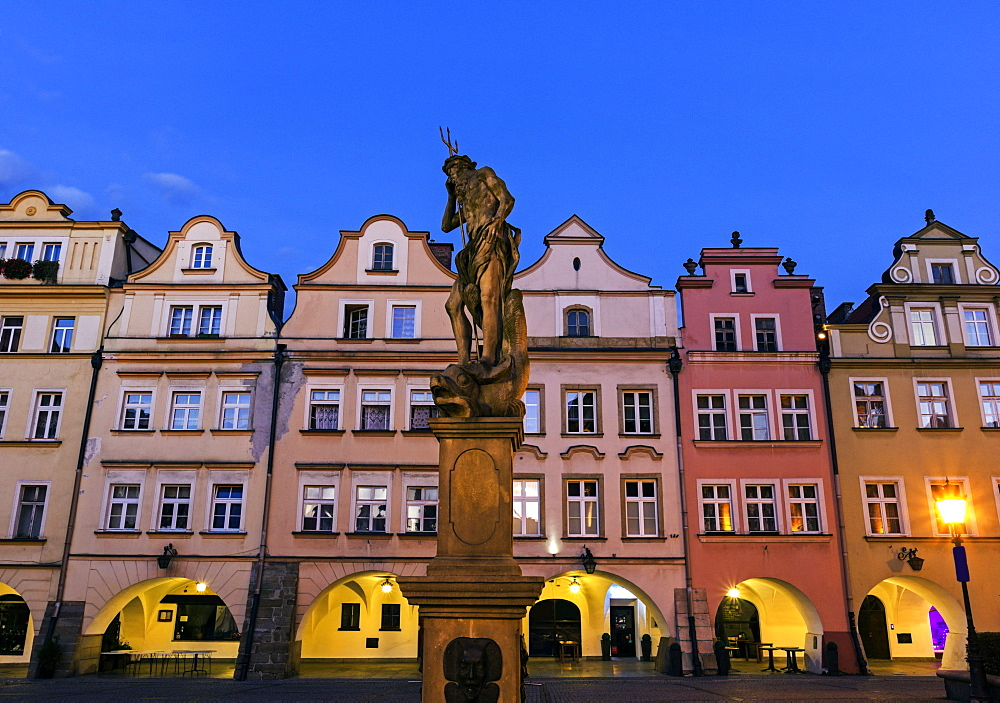 Statues and facades of old town houses, Poland, Dolnoslaskie, Jelenia Gora, Old Town