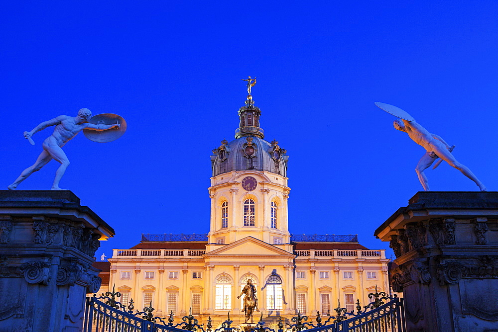 Charlottenburg Palace facade and entrance statues at night, Germany, Berlin, Charlottenburg Palace - 1178-25299