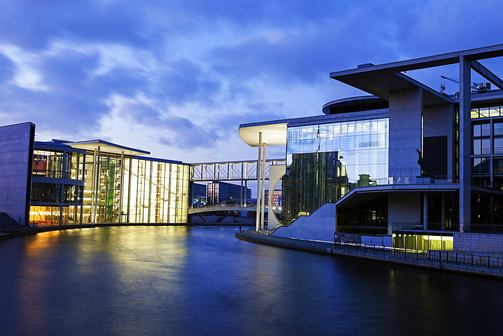 Federal Parliament offices illuminated at dusk, Germany, Berlin, Federal Parliament Offices