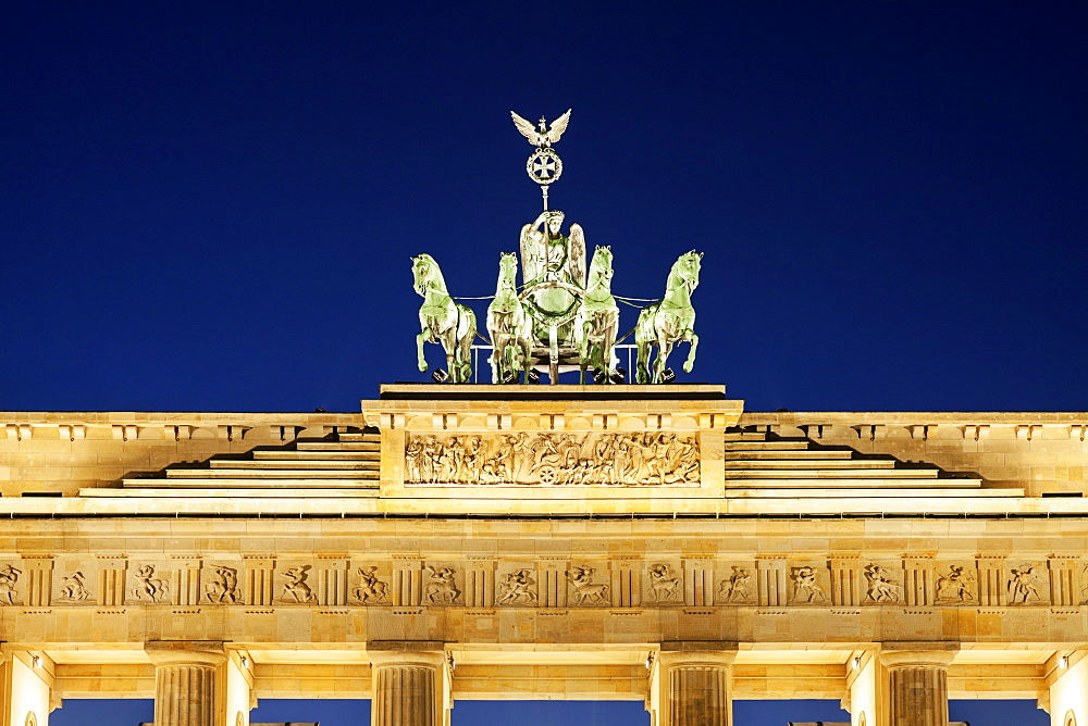 Statue on top of Brandenburg Gate, Germany, Berlin, Brandenburg Gate