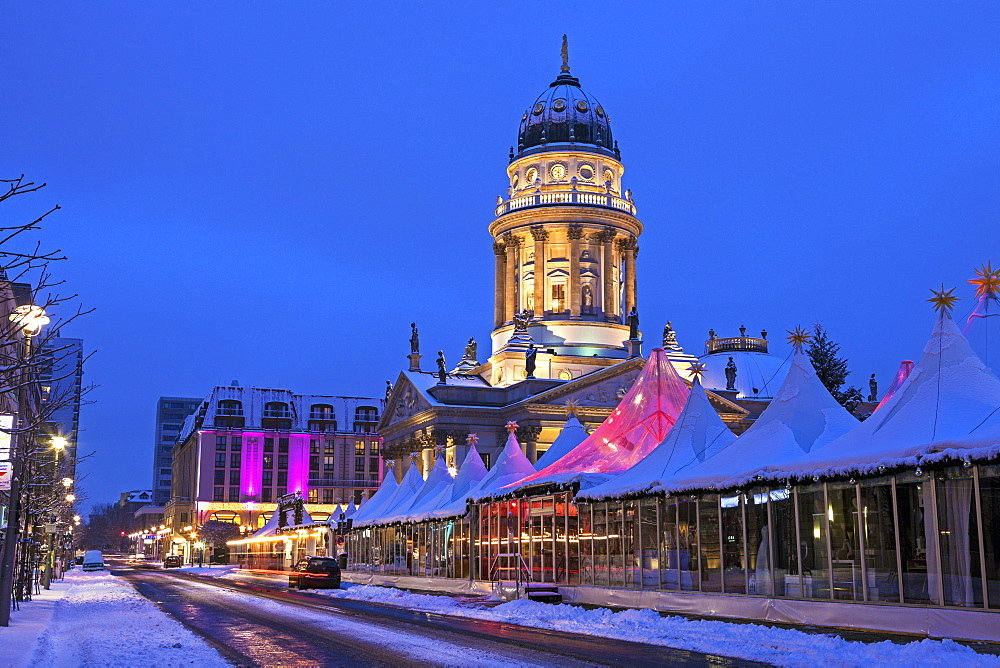 Christmas Market and illuminated steeple of French Cathedral, Germany, Berlin