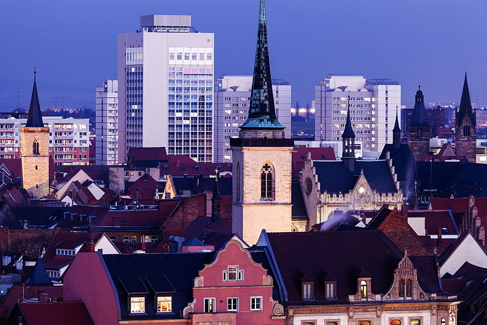 Cityscape with Allerheiligenkirche bell tower, Germany, Thuringia, Erfurt