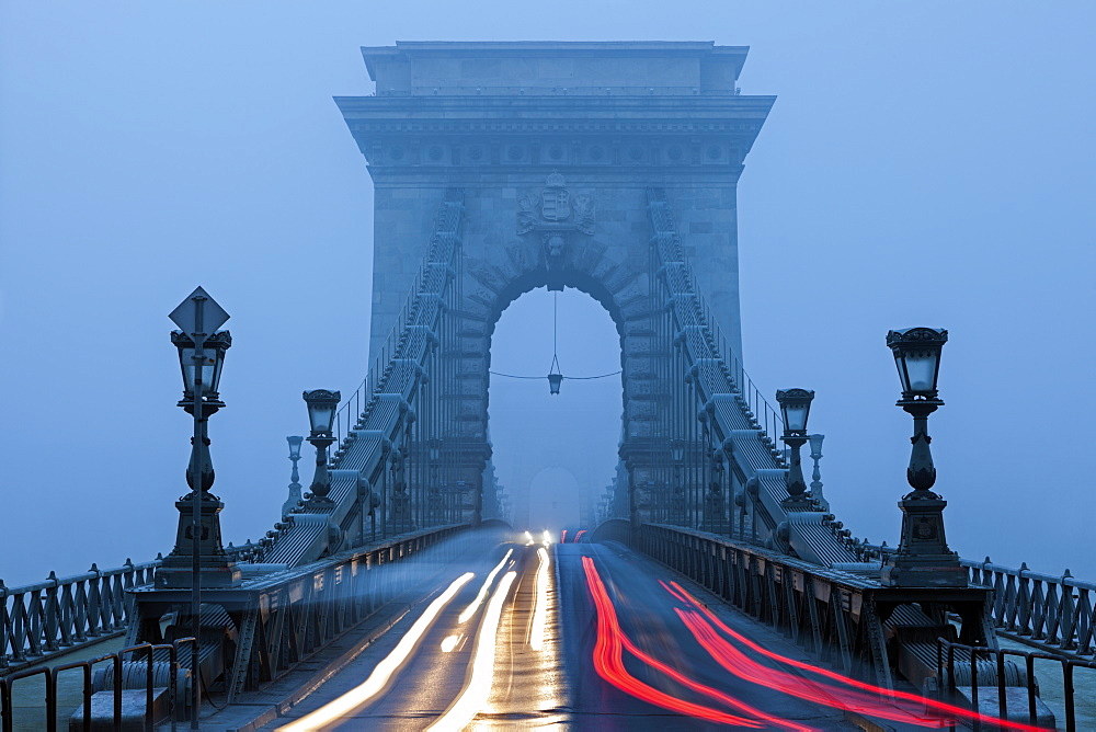 Light trails on Chain Bridge, Hungary, Budapest, Chain bridge