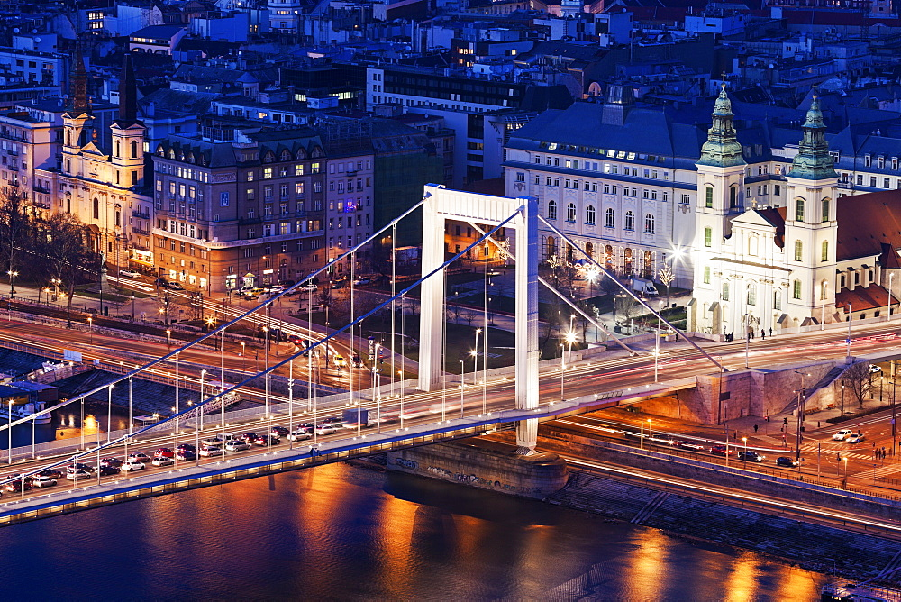 Riverfront cityscape with Elisabeth Bridge and Franciscan Church, Hungary, Budapest, Elisabeth Bridge, Franciscan Church