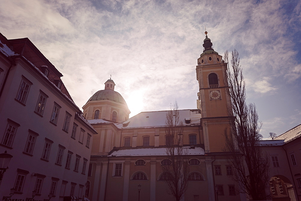 St. Nicholas Cathedral in sunlight, Slovenia, Ljubljana, St. Nicholas Cathedral