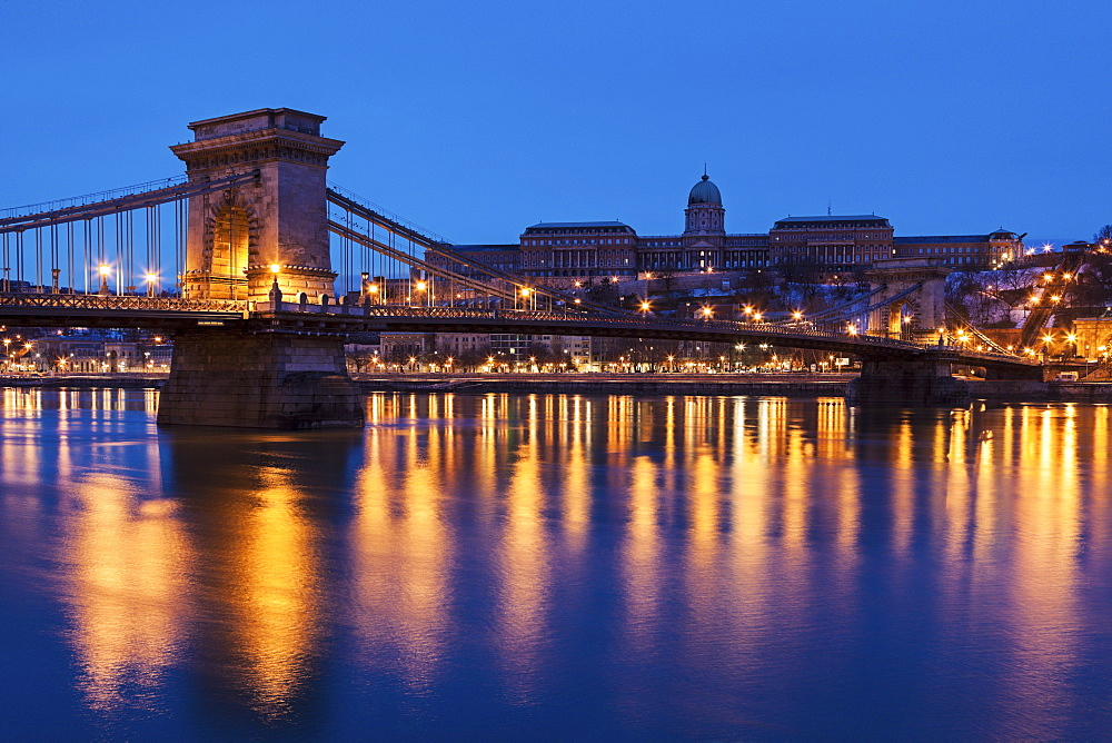 Illuminated Chain Bridge and Buda skyline, Hungary, Budapest, Chain bridge,Royal Palace