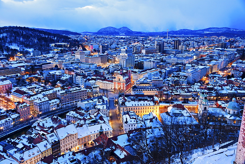 Winter cityscape at dawn, Slovenia, Ljubljana