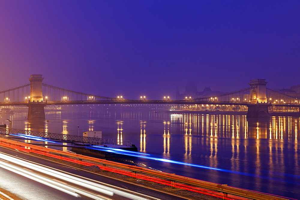 Illuminated Chain Bridge and light trails, Hungary, Budapest, Chain bridge