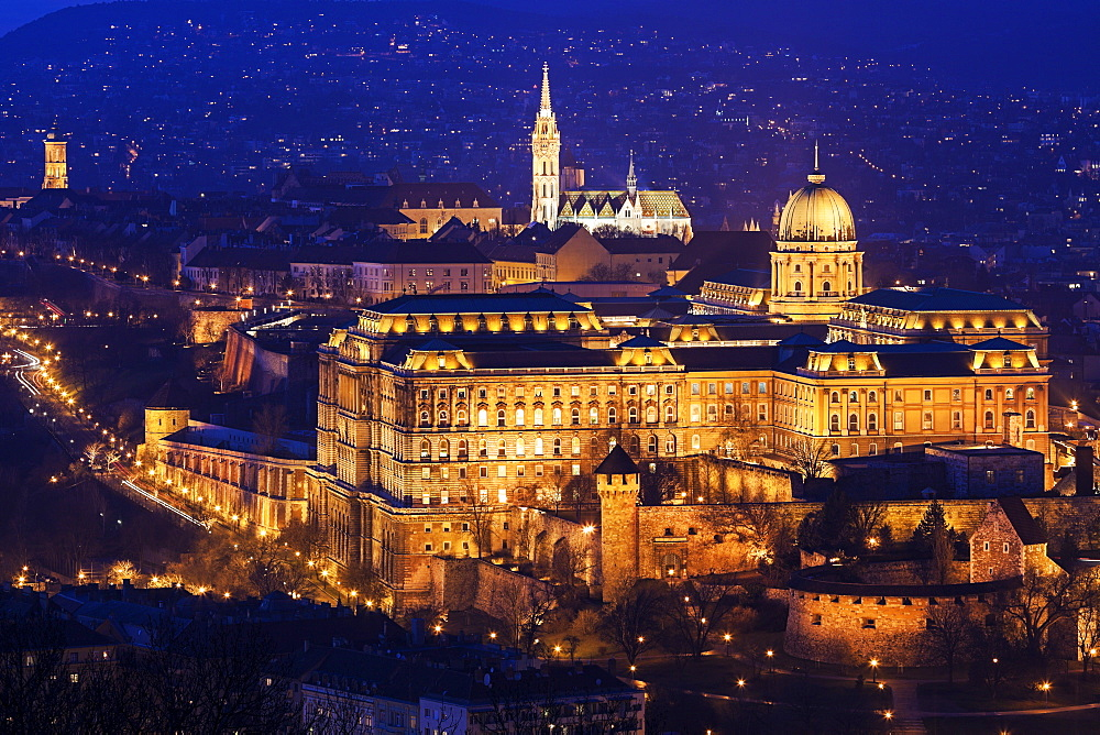 Cityscape with illuminated Royal Palace and Matthias Church, Hungary, Budapest, Royal Palace, Buda Castle