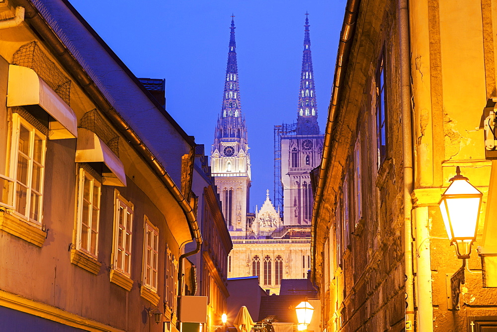 Illuminated street and spires of Zagreb Cathedral, Croatia, Zagreb, Zagreb Cathedral