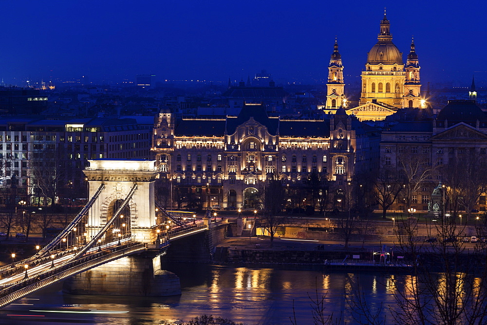 Illuminated cityscape with Chain Bridge and Saint Stephen's Basilica, Hungary, Budapest, Chain bridge, Saint Stephen's Basilica