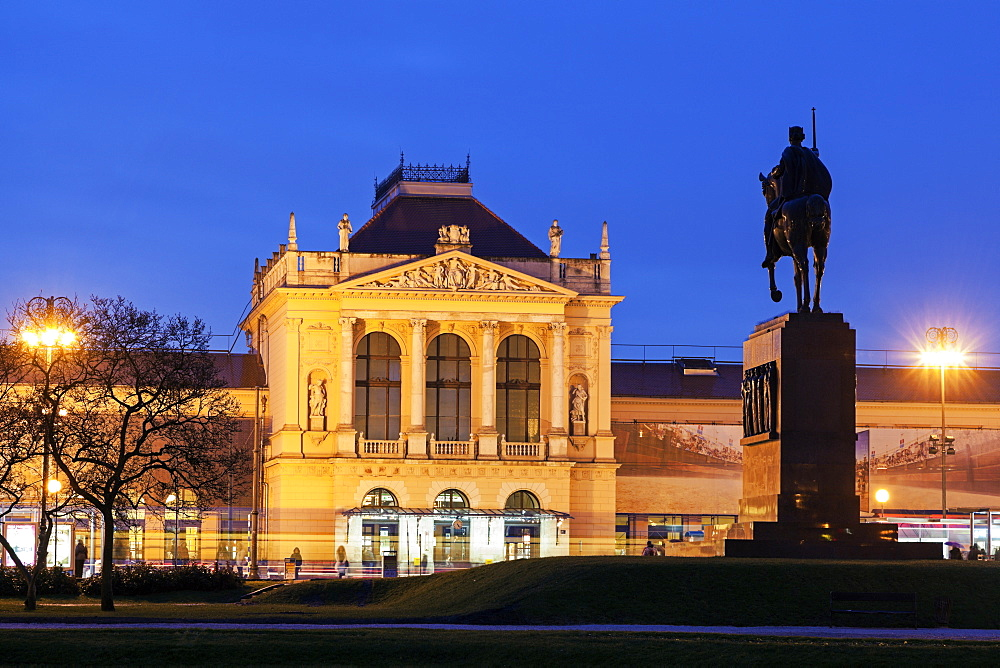 Illuminated building of main railway station, Croatia, Zagreb