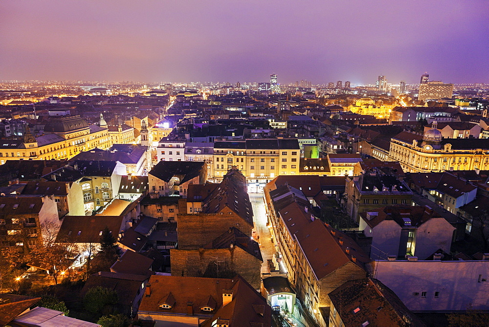 View of illuminated old town, Croatia, Zagreb