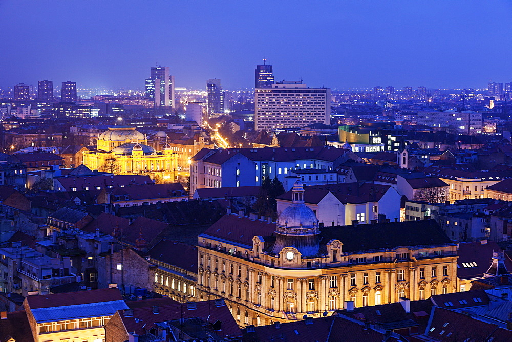 Illuminated cityscape at night, Croatia, Zagreb