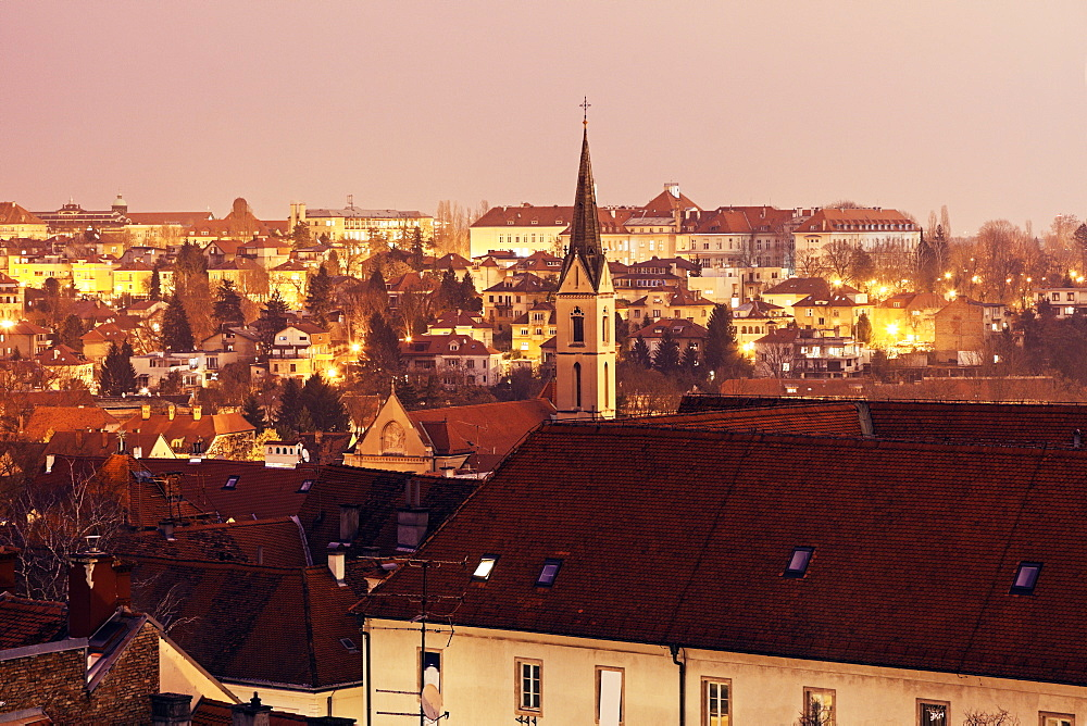 Cityscape with Franciscan Monastery at dawn, Croatia, Zagreb, Franciscan monastery