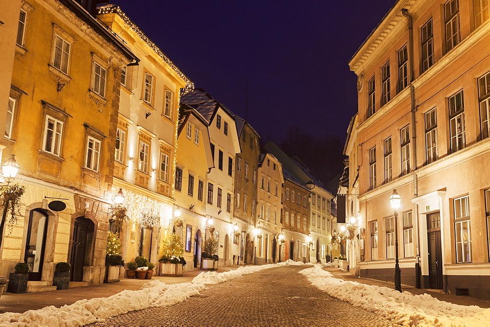 Illuminated old town street, Slovenia, Ljubljana
