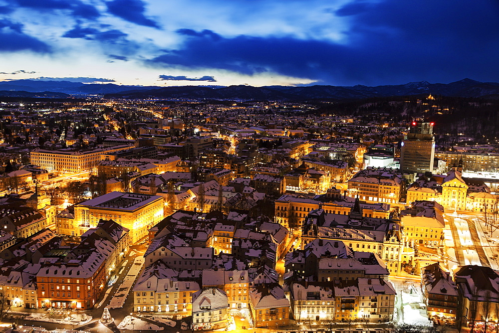 Illuminated cityscape at dusk, Slovenia, Ljubljana