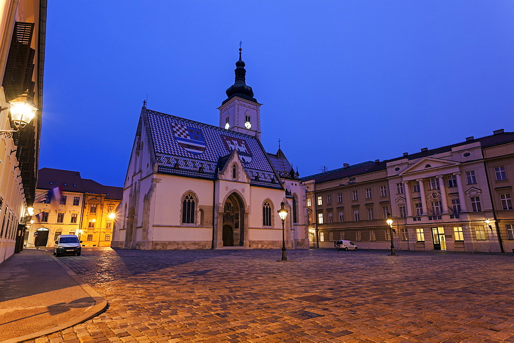 Town square and St. Mark's Church, Croatia, Zagreb, St. Mark's Church,Croatian parliament