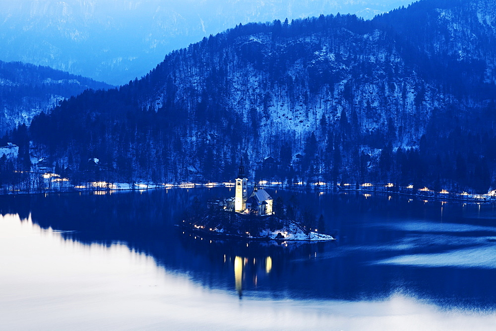 Lake Bled and illuminated Church of the Assumption on island, Slovenia, Bled, Church of the Assumption, Lake Bled