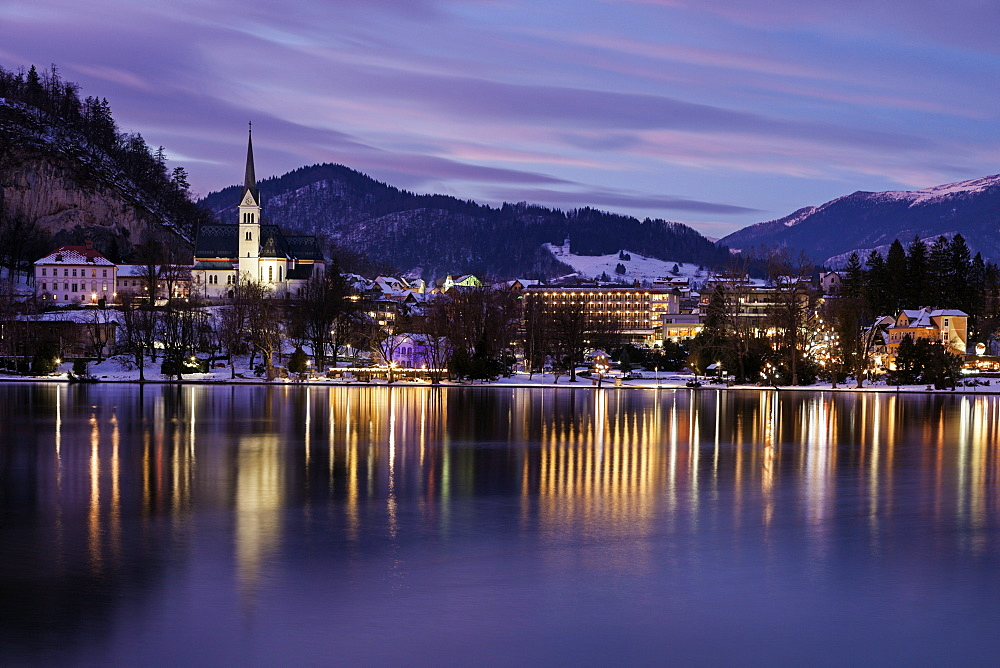 Lake Bled and illuminated waterfront, Slovenia, Bled