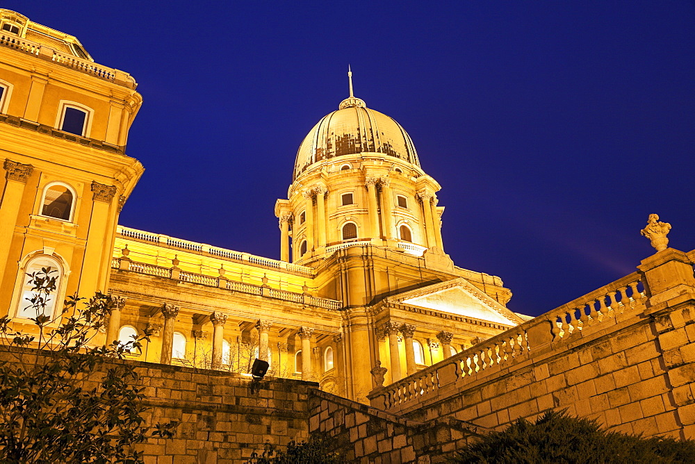 Royal Palace dome illuminated at night, Hungary, Budapest, Royal Palace