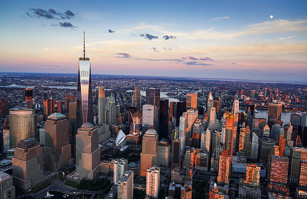 Aerial view of downtown district, USA, New York, New York City