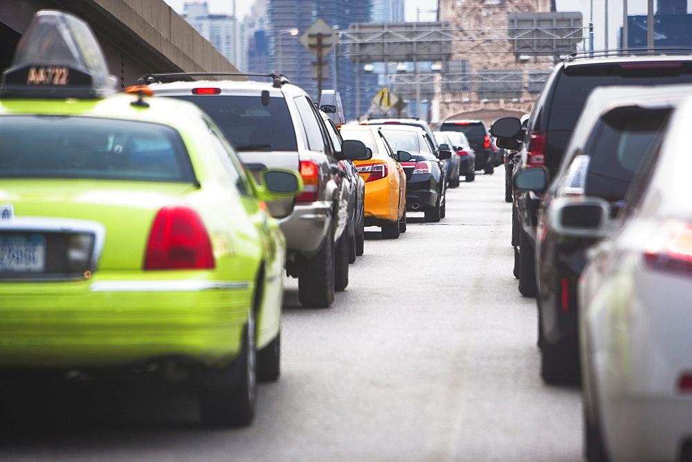 Cars in traffic jam, USA, New York State, New York City