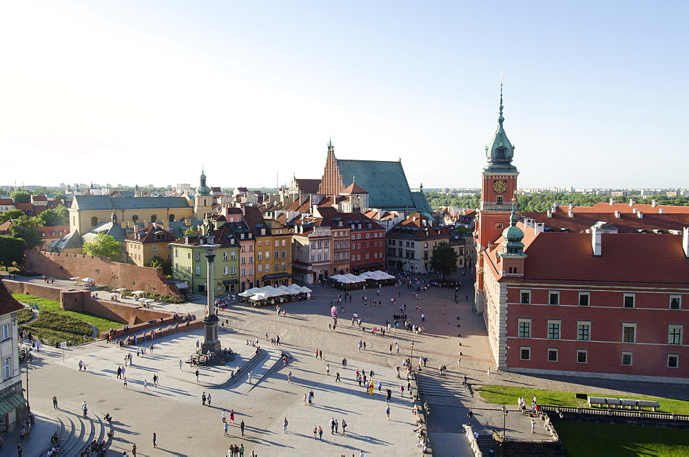 Elevated view of town square, Poland, Warsaw