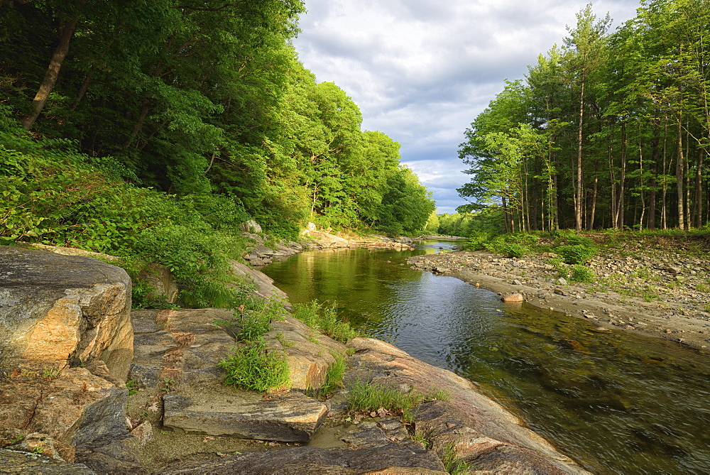 View of Williams River, USA, New England, Vermont, Chester