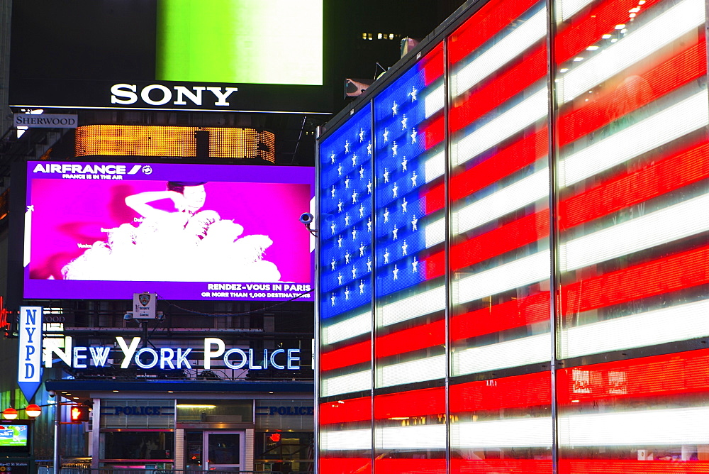 New York City, Neon of american flag - 1178-25638