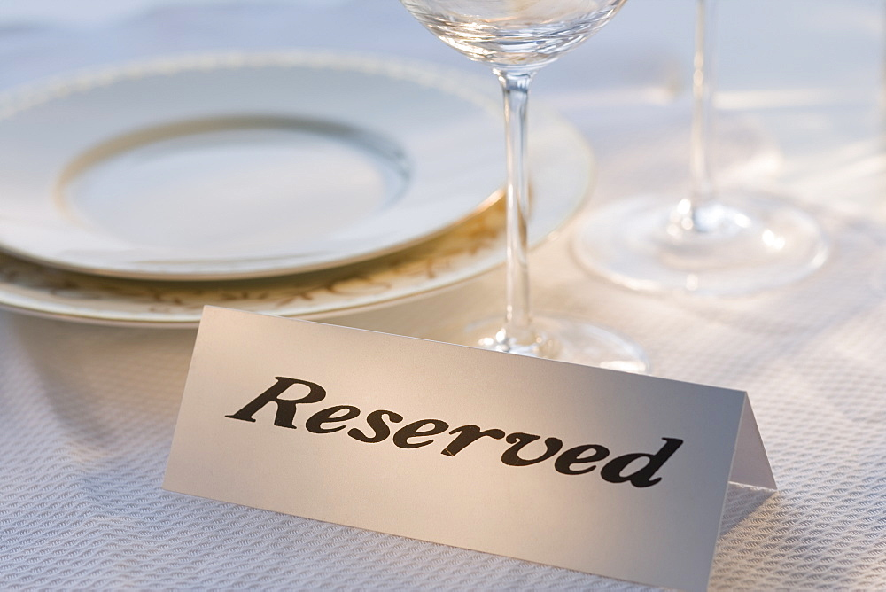 Reserved sign at place setting