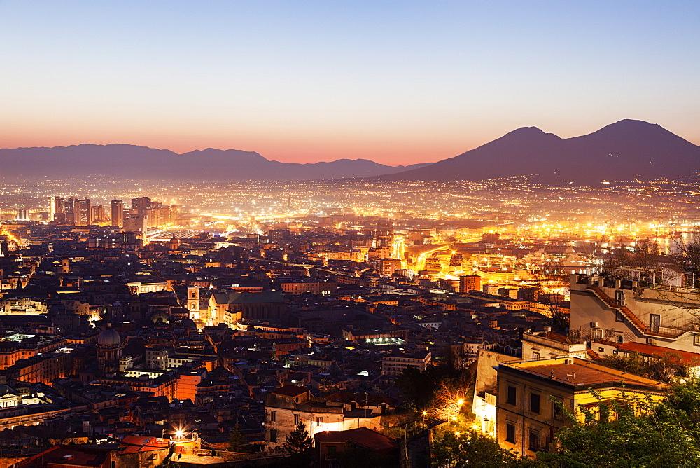 Italy, Campania, Naples, City at sunrise