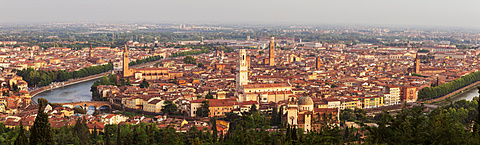 Italy, Veneto, Verona, Panorama of city at sunset